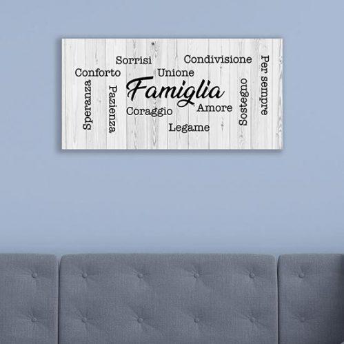 Quadro con scritte per la famiglia stampa su tela