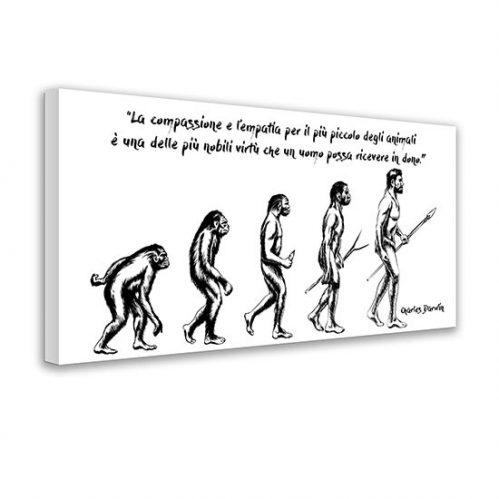 Quadro su tela con frase di Darwin