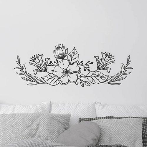 decorazione floreale adesiva da muro