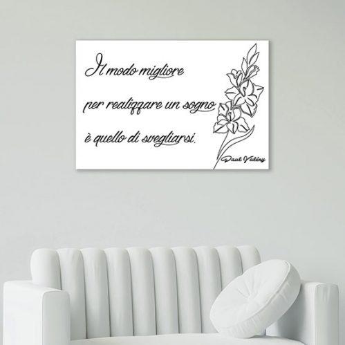 quadro con frase bianco e nero stampa su tela