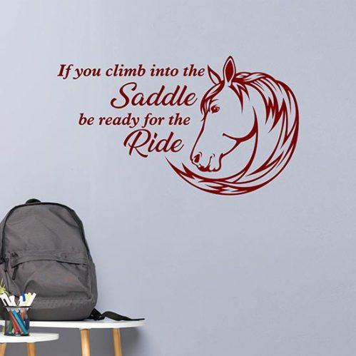 Climb into the Saddle frase adesiva da muro