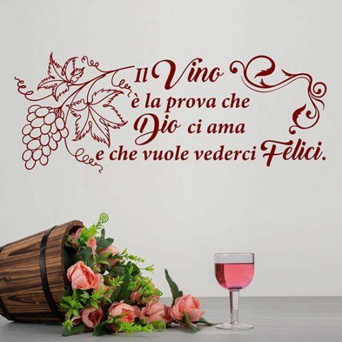 Frase adesiva sul vino per muro