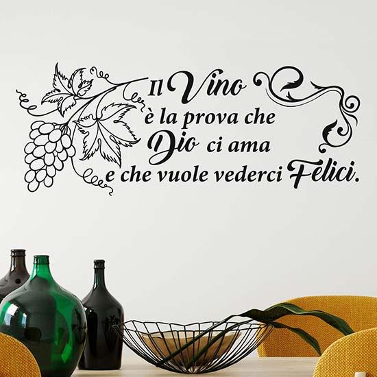 Frase adesiva sul vino per muro stickers murali