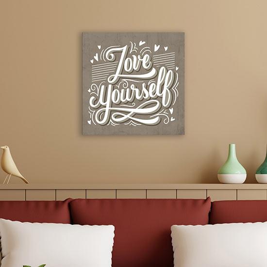 Quadro con scritta Love yourself stampa su tela