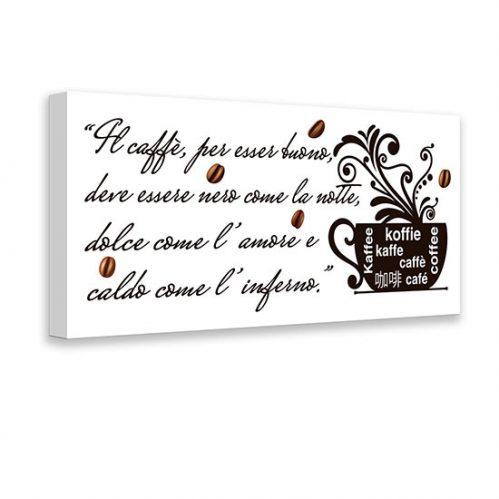 Quadro con scritta sul caffè