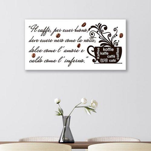 Quadro con scritta sul caffè stampa su tela