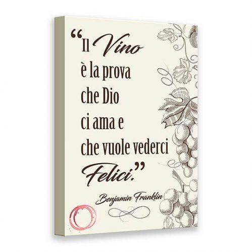 Quadro su tela con frase sul vino