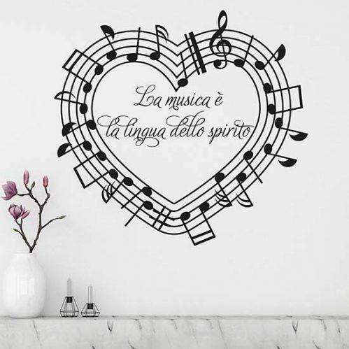 Stickers murali con frase sulla musica