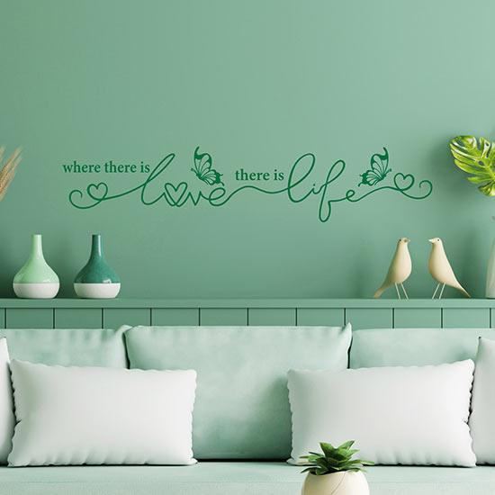 frase adesiva love life adesivi murali
