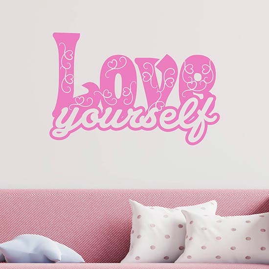 love yourself stickers murali frase adesiva
