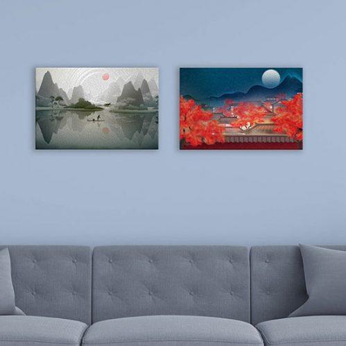 quadri con paesaggi cinesi su tela