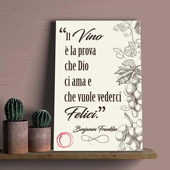 quadro con stampa su tela e frase sul vino