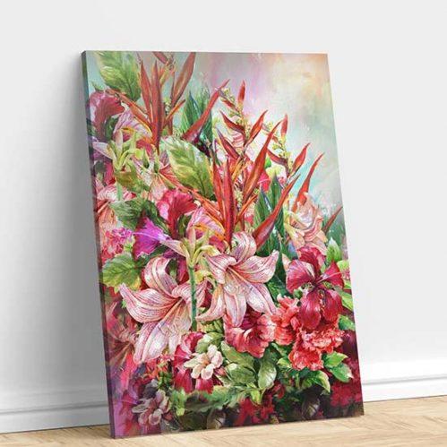 Quadro con fiori stampato su tela