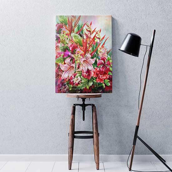 Quadro con fiori stampato su tela da appendere