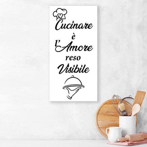 Quadro su tela con frase per la cucina