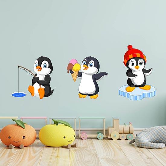 Adesivi murali pinguini per bambini decorazioni da parete