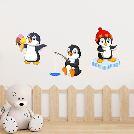 Adesivi murali pinguini per bambini