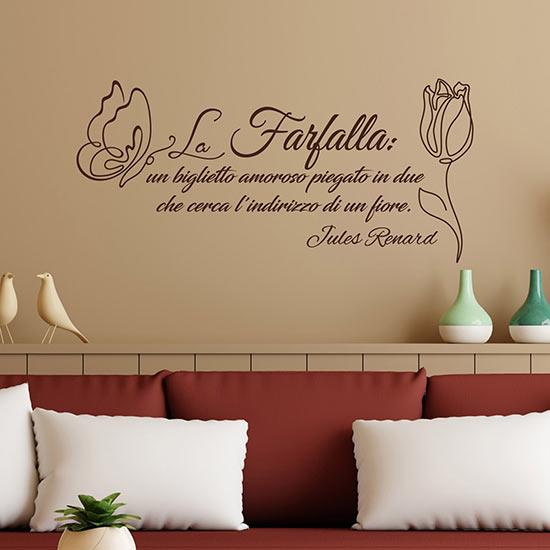 Frase adesiva da muro farfalla