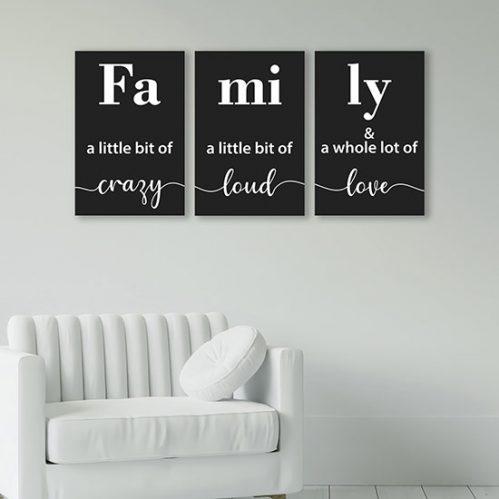 Quadri su tela con scritte famiglia