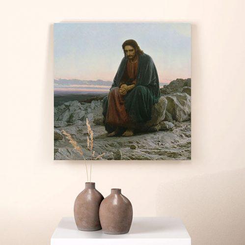 Quadro Cristo nel deserto di Kramskoj riproduzione su tela