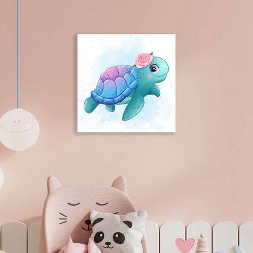 Quadro su tela con piccola tartaruga
