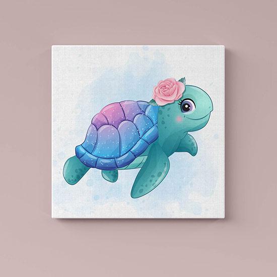 Quadro su tela piccola tartaruga
