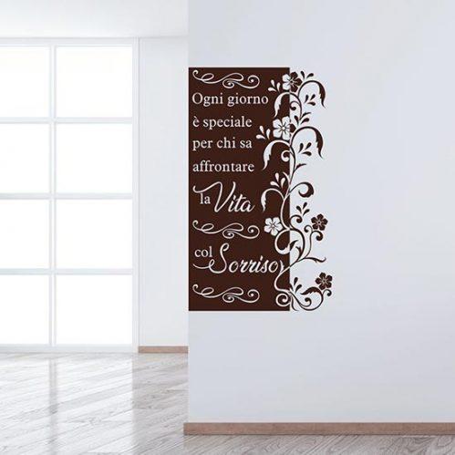 Stickers murali con frase e fiori