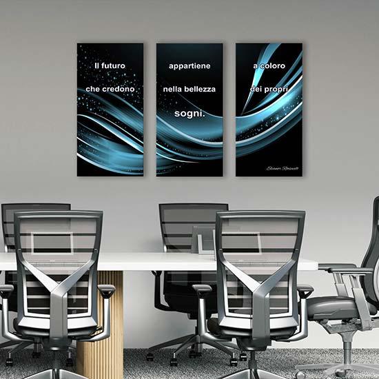 quadri astratti con frase per ufficio stampe su tela