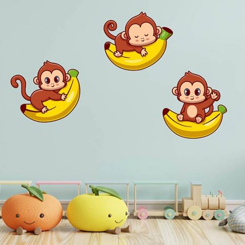 Adesivi da parete per le camerette dei bambini 3 scimmiette