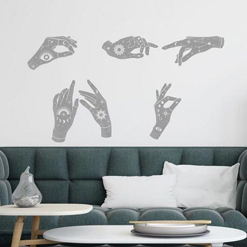 Adesivi mani mistiche esoteriche da parete