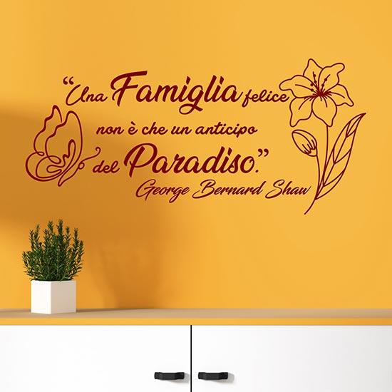 Frase adesiva da muro sulla famiglia adesivi da parete