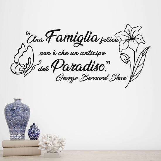 Frase adesiva da muro sulla famiglia