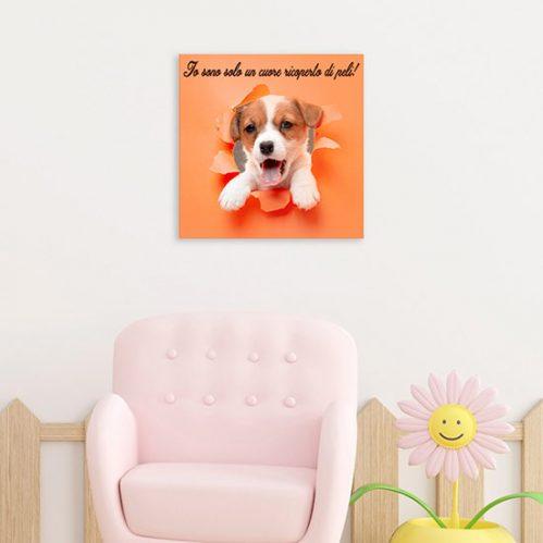 Quadretti su tela con cucciolo e frase per bambini