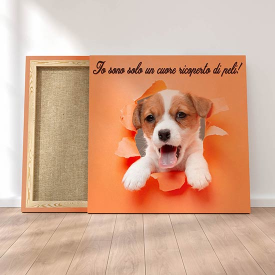 Quadretti su tela con cucciolo e frase