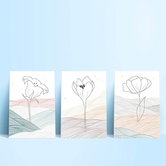 Quadri astratti con fiori su tela