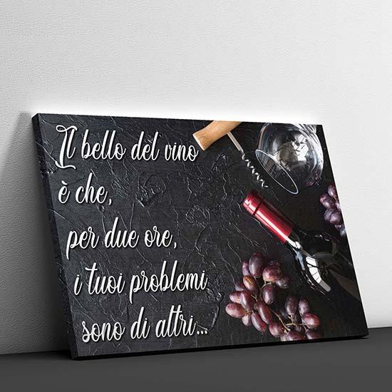 Quadro con frase sul vino su tela