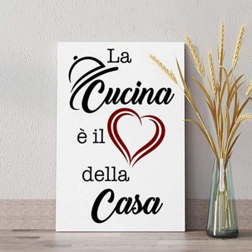 Stampa su tela con frase per la cucina