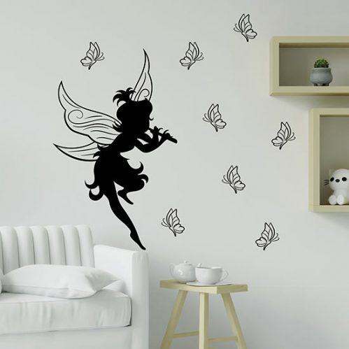 Sticker murali fatina con farfalle