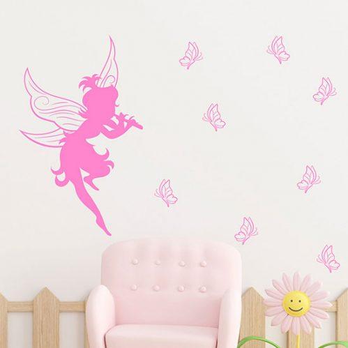 Sticker murali fatina con farfalle decorazioni adesive